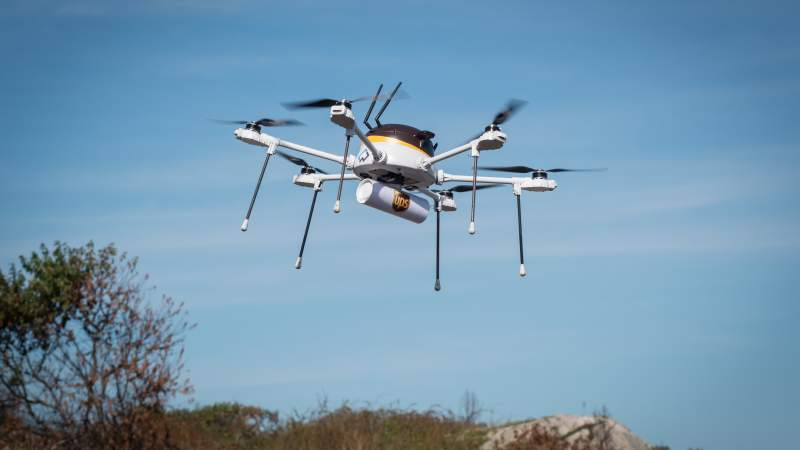 UPS CyPhy delivery drone inflight
